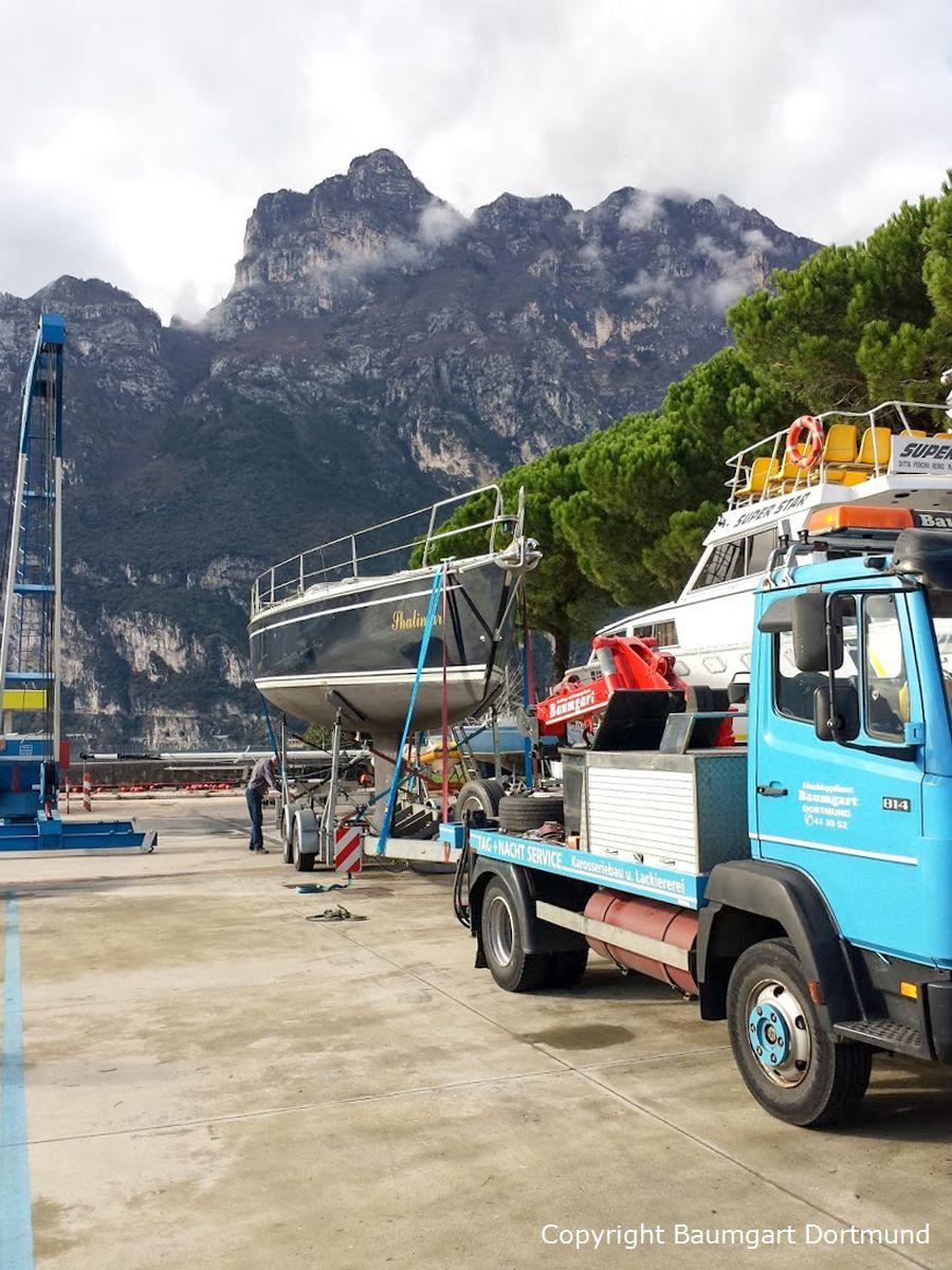 Yachttransport Ankunft am Gardasee